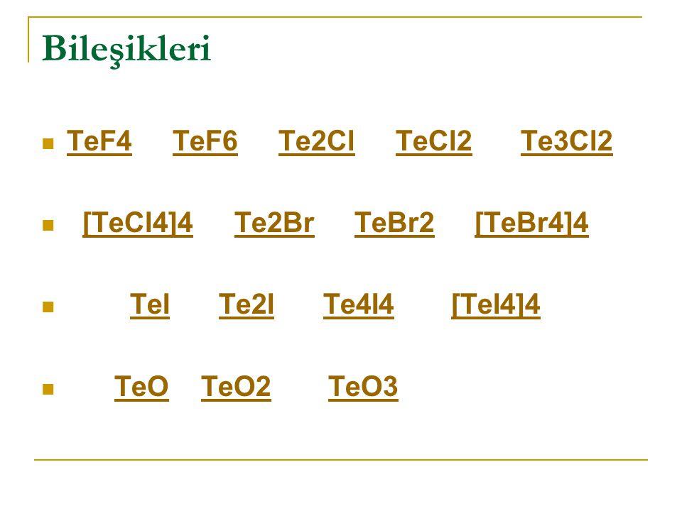 Bileşikleri TeF4 TeF6 Te2Cl TeCl2 Te3Cl2 [TeCl4]4 Te2Br TeBr2 [TeBr4]4